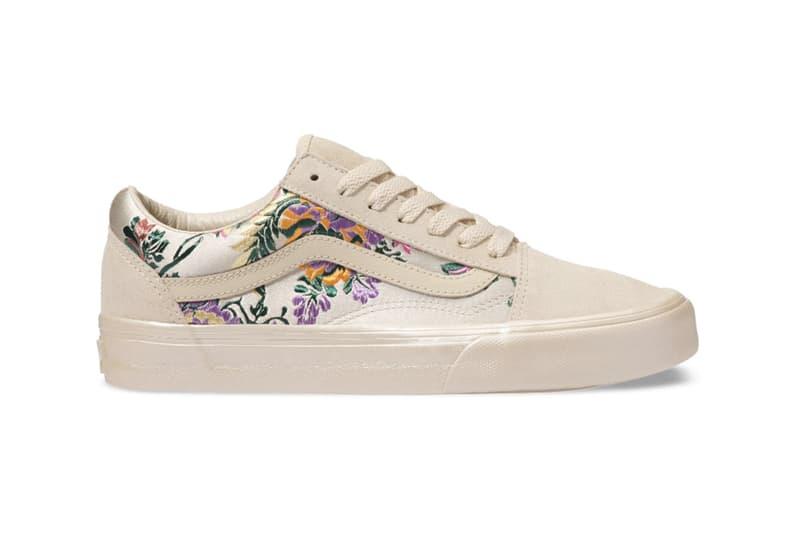 Vans Festival Pack Satin Floral Slip-On Old Skool Sneakers White Gold Cream Black