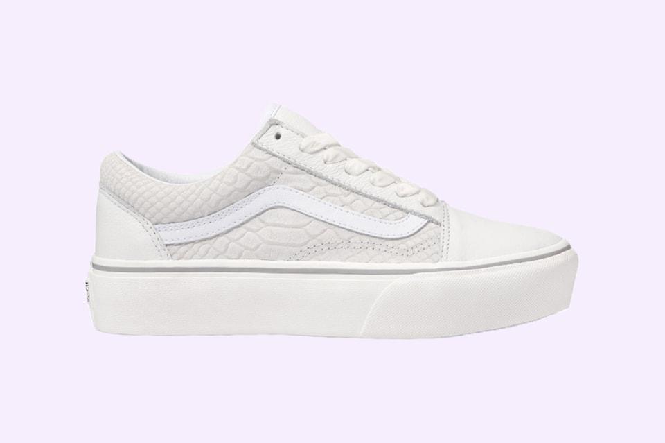1ba4234326a3 Minimalists Will Love Vans  White Snakeskin Platform Old Skools