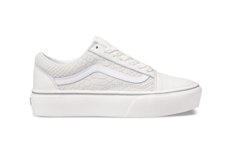 912b0c1cf13 Vans Old Skool White Snakeskin Leather Platform Sneakers