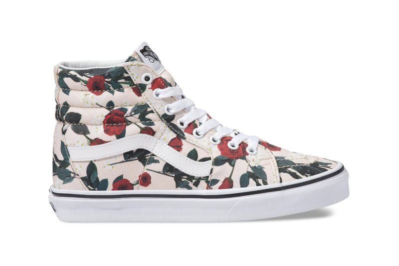 faf0ff456324 Vans Sk8-Hi Authentic Rose Print Pattern Sneakers
