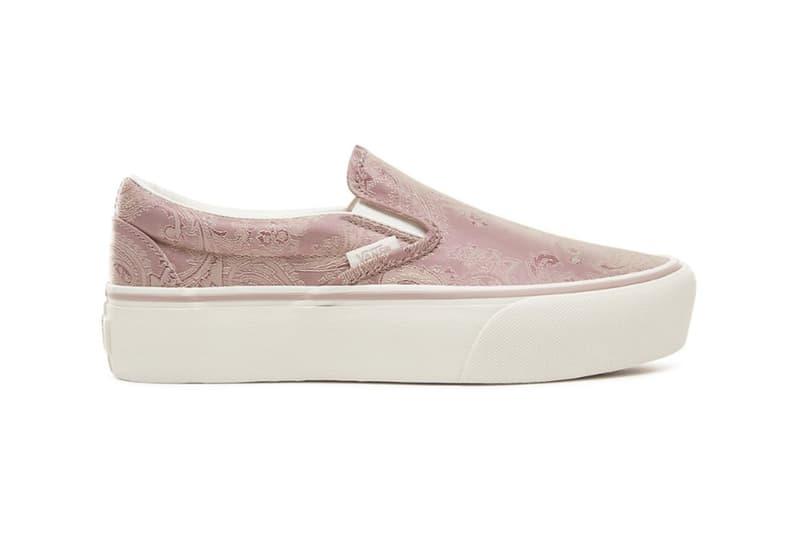 Vans Slip-On Platform Pink Mauve Paisley Satin Sneakers