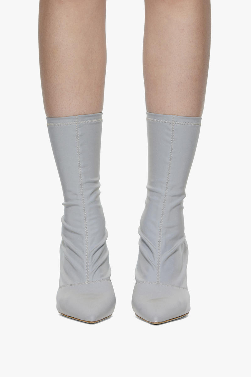 YEEZY Silver Reflective Ankle Boots Kim Kardashian Outfit Sock Heels