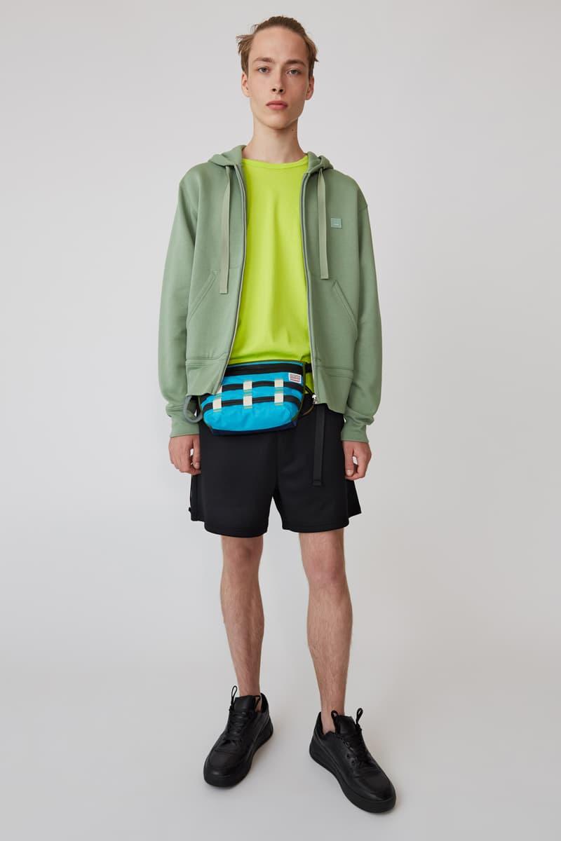 Acne Studios Spring/Summer 2019 Face Collection T-shirt Green Shorts Black