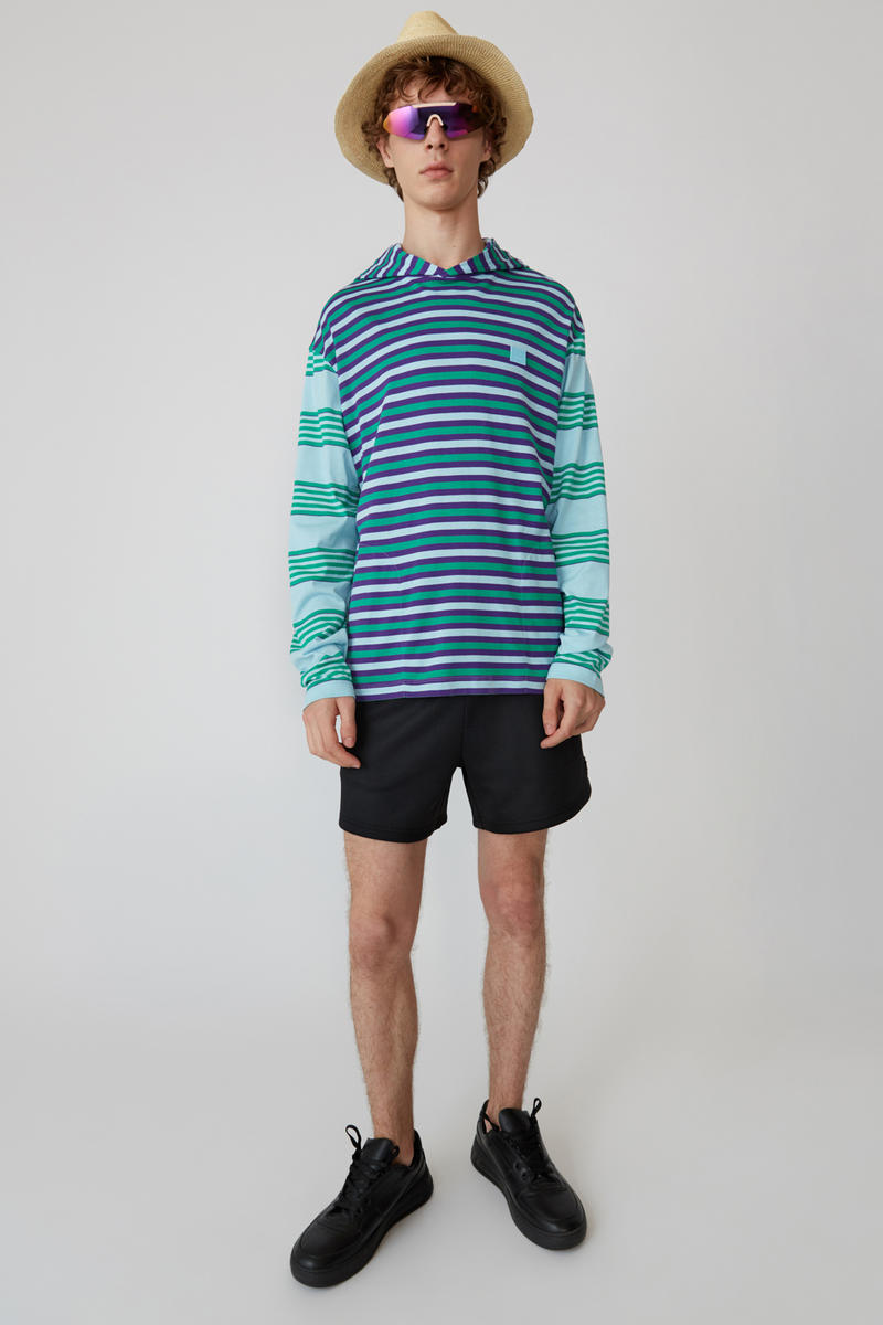 Acne Studios Spring/Summer 2019 Face Collection Striped Shirt Blue Shorts Black