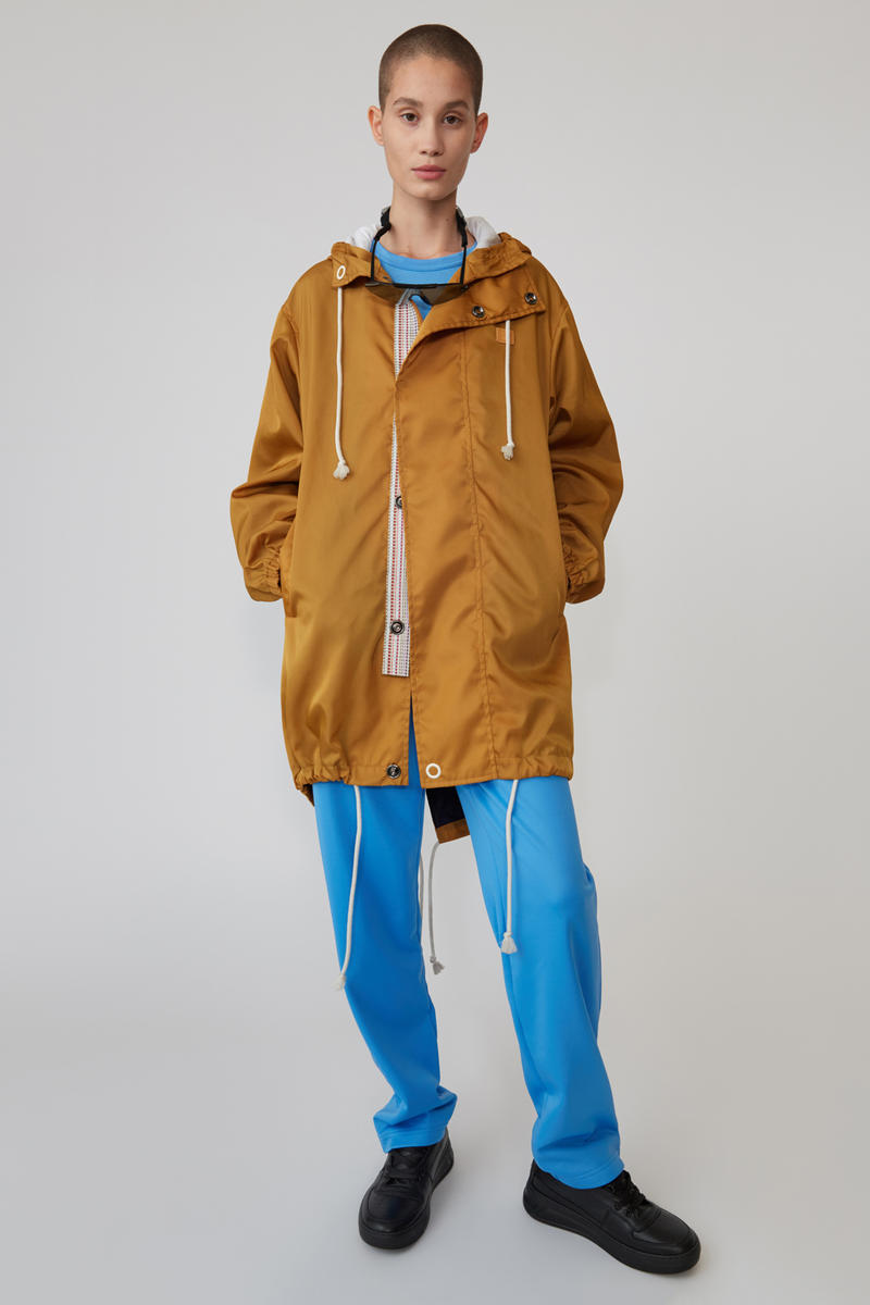 Acne Studios Spring/Summer 2019 Face Collection Hooded Jacket Brown Pants Blue