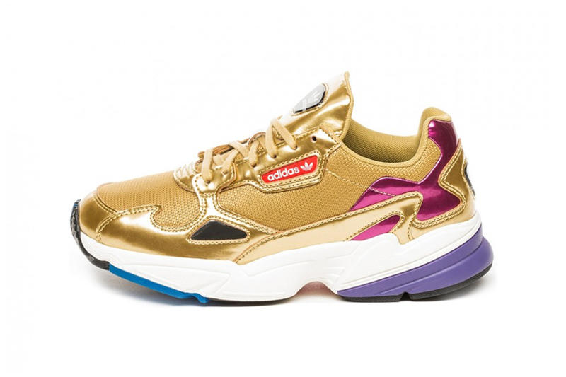 adidas Originals Falcon Metallic Gold Women's Chunky 90s Sneakers Trainers
