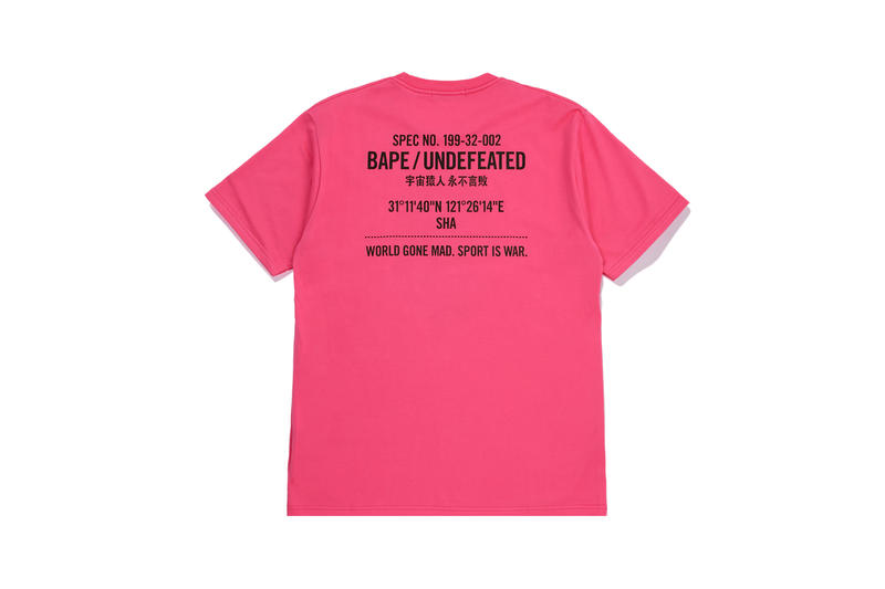 UNDEFEATED x BAPE Capsule Collection T-shirt Pink