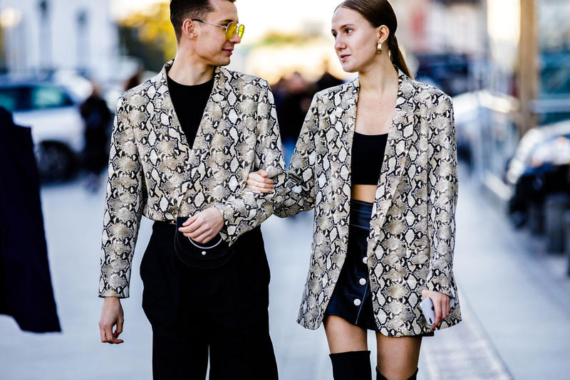 Moscow Fashion Week Street Style Spring Summer 2019 Snakeskin Jackets White Black