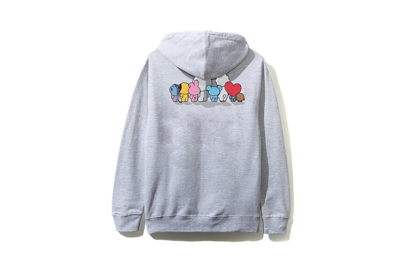 BTS BT21 x Anti Social Social Club Collection Hoodie Grey