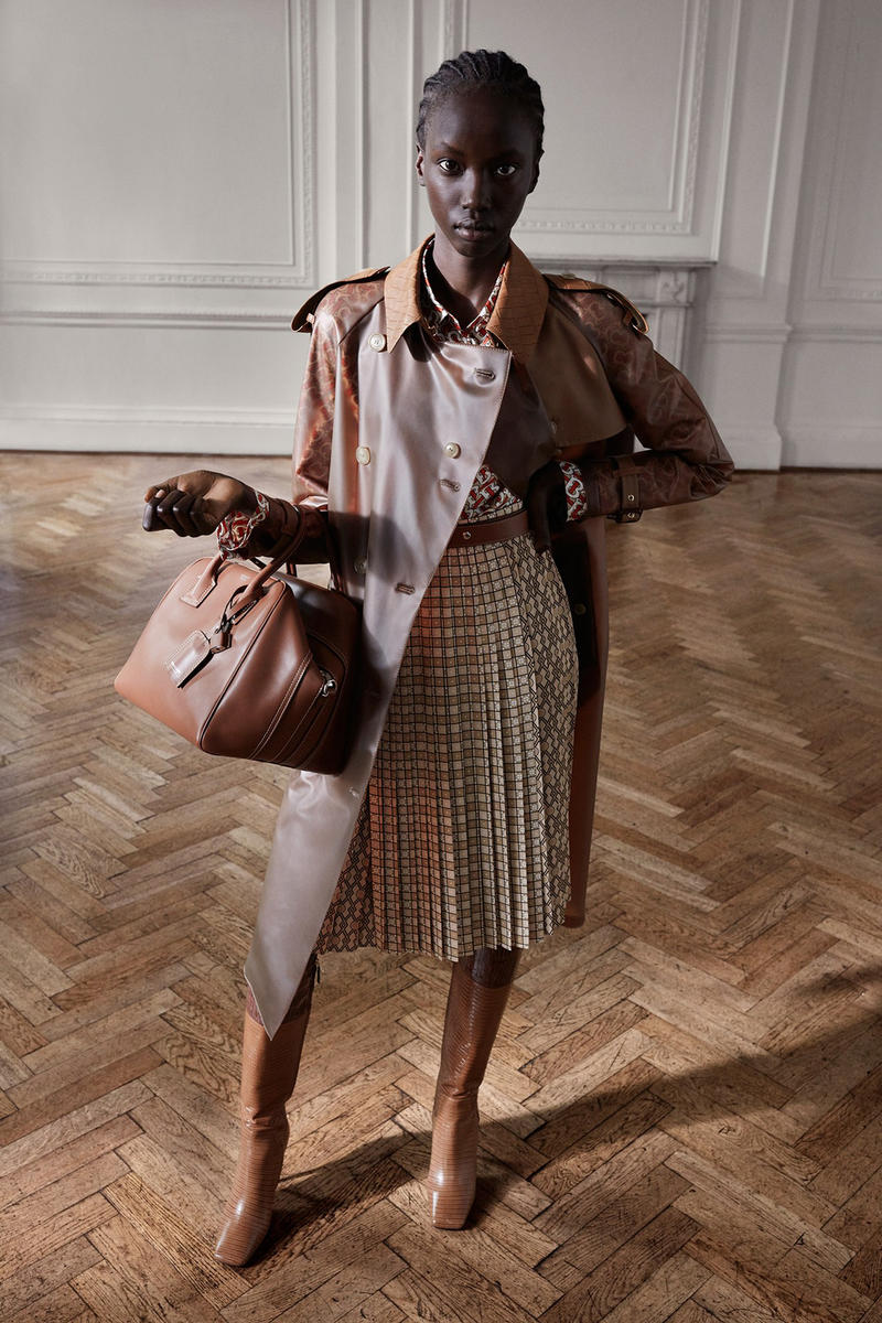 Burberry Riccardo Tisci Pre-Fall 2019 Collection Jacket Bag Brown Skirt Tan