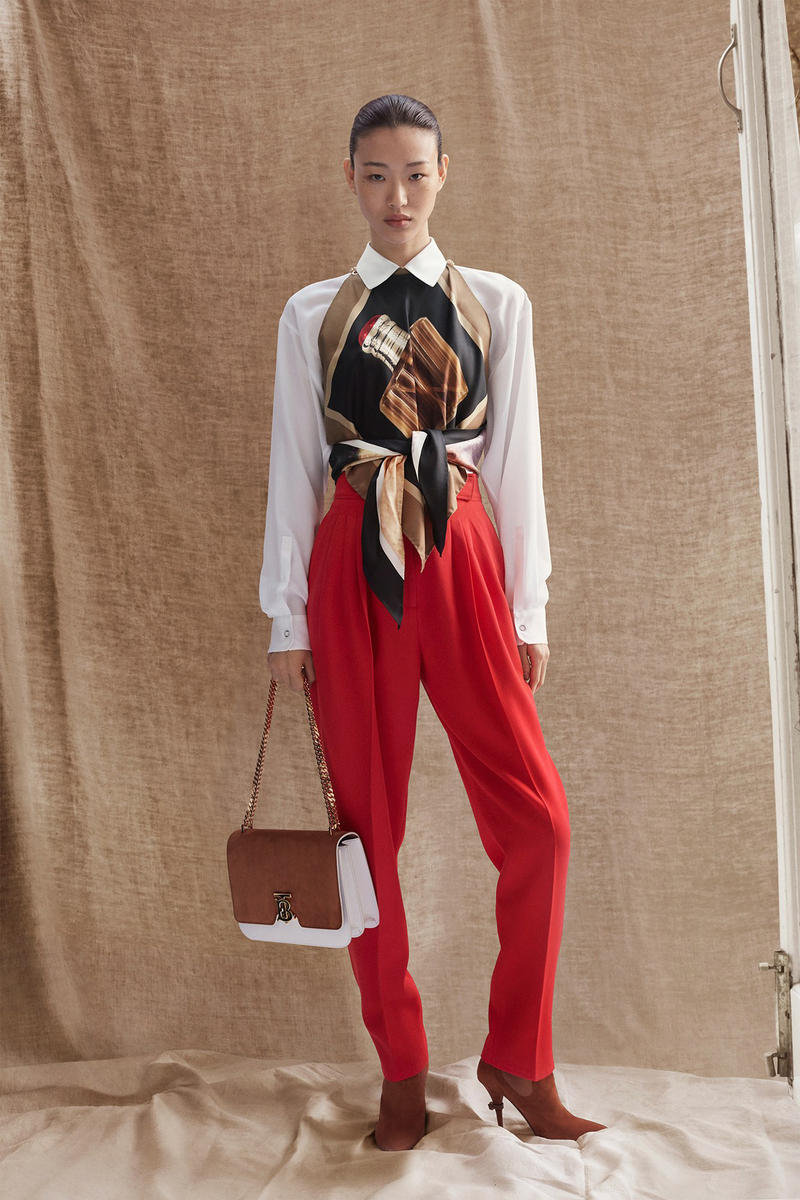 Burberry Riccardo Tisci Pre-Fall 2019 Collection Shirt White Trousers Red