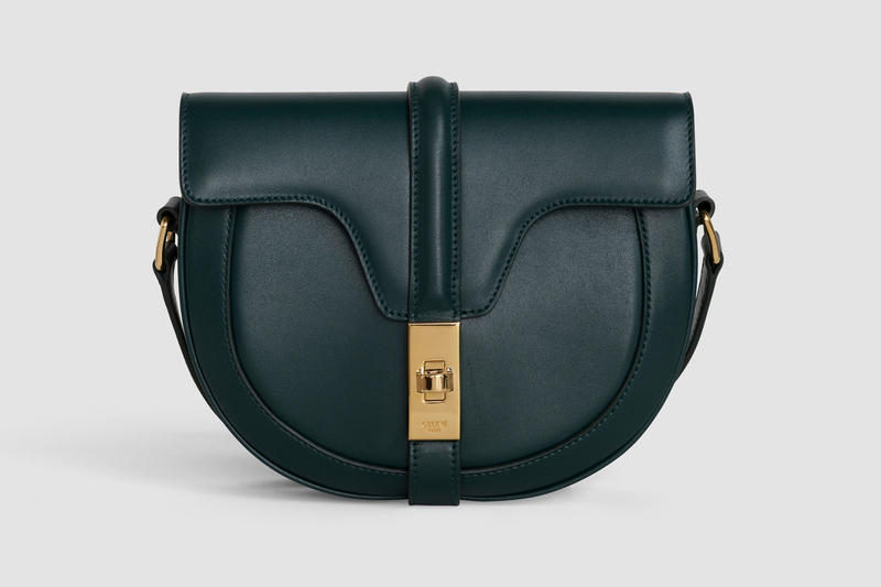 Celine Oval Shape Handbag Leather Amazone Green