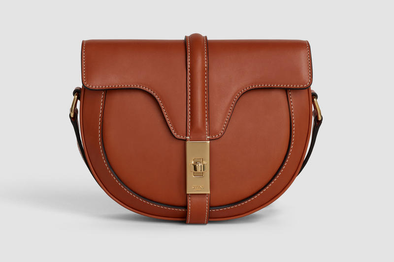 Celine Oval Shape Handbag Leather Brown