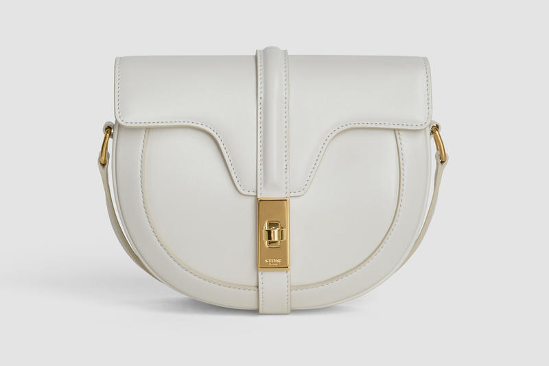Celine Oval Shape Handbag Leather Cream