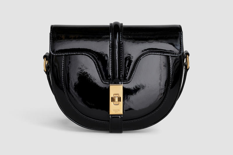 Celine Oval Shape Handbag Patent Leather Black