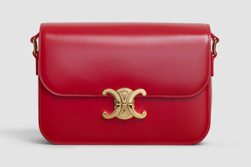 Celine Square CC Handbag Leather Red