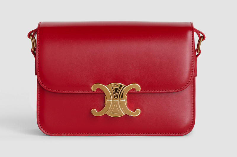 Celine Square CC Mini Handbag Leather Red