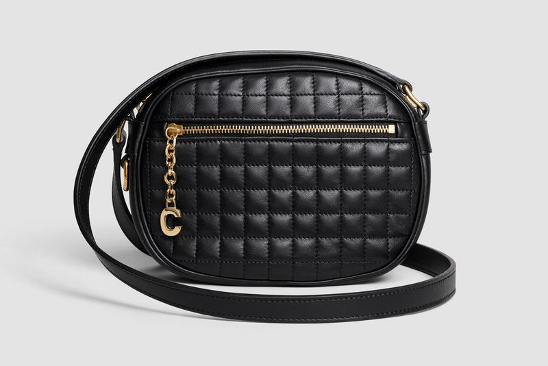 Celine Oval Patchwork Handbag Leather Black