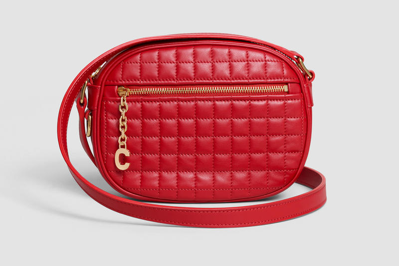 Celine Oval Patchwork Handbag Leather Red