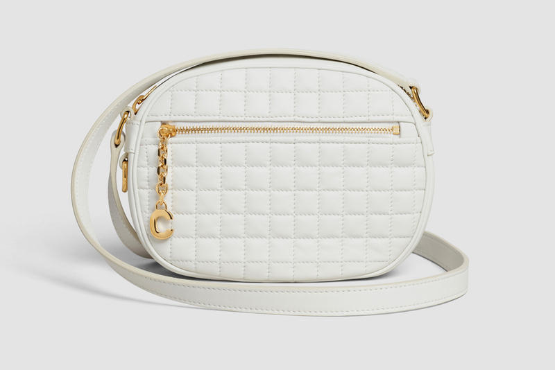Celine Oval Patchwork Handbag Leather Cream