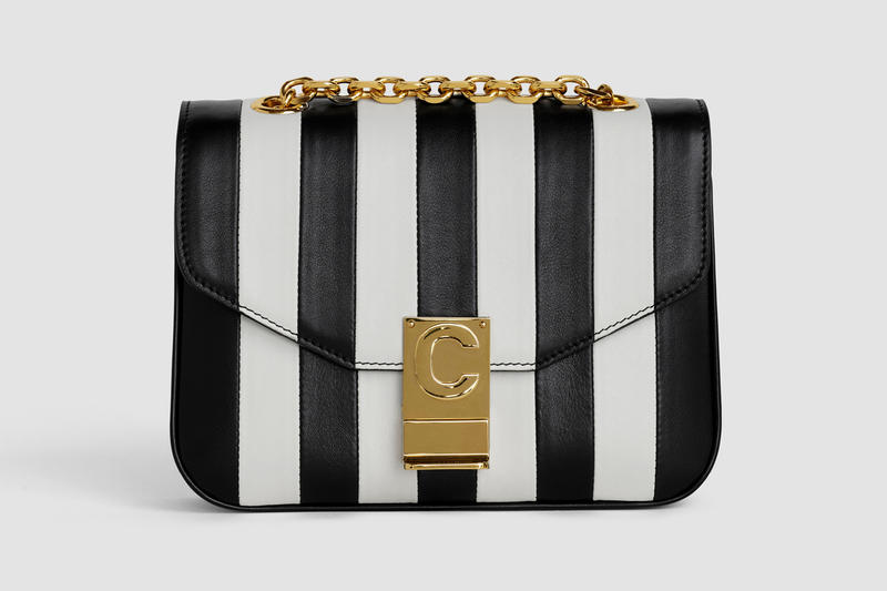 Celine Monogram C Leather Mini Striped Handbag Black White