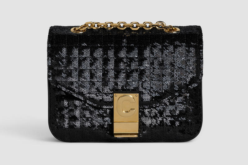 Celine Monogram C Mini Sequin Handbag Black