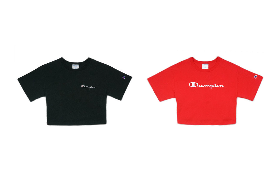 4d8292fec5ed Shop Champion's Cropped Logo T-Shirt in Black | HYPEBAE
