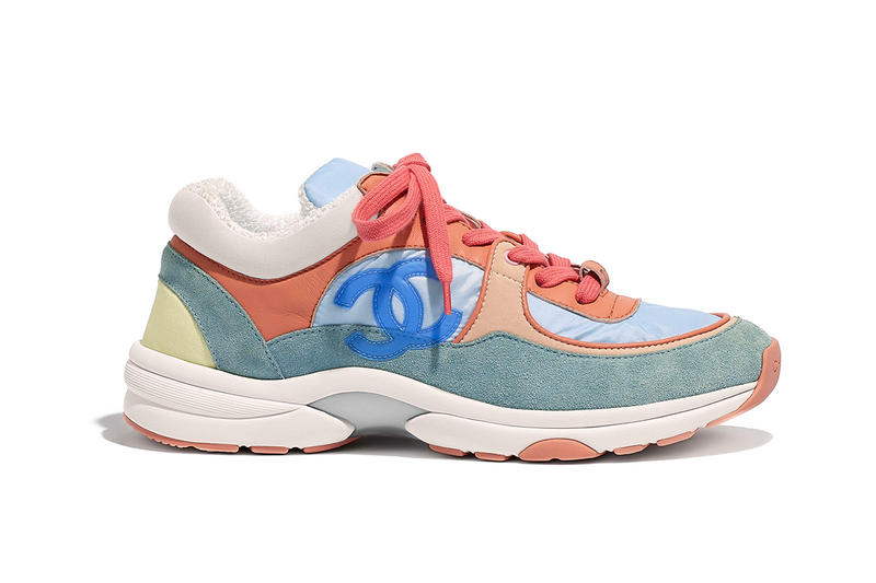 604892dda2bf43 Chanel Cruise 2019 Logo Sneakers Nylon Lambskin Suede Calfskin Blue Green  Pastel Coral