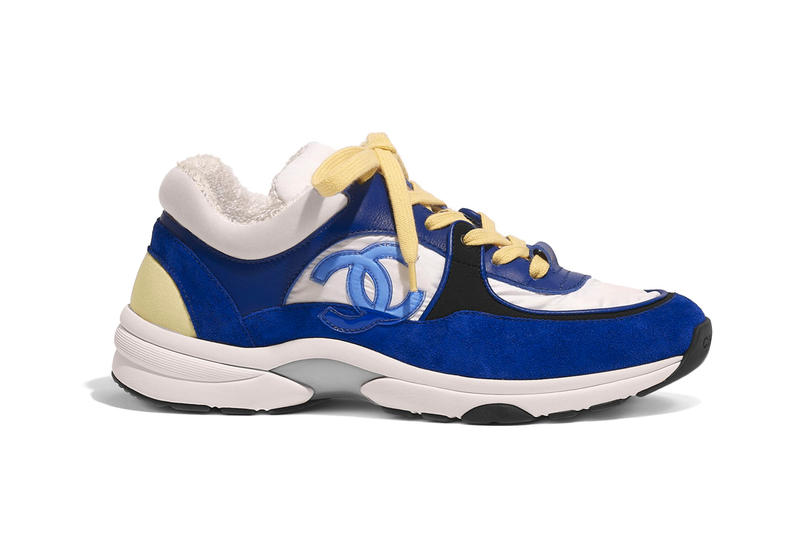 Chanel Cruise 2019 Logo Sneakers Nylon Lambskin Suede Calfskin Royal Blue White Black Yellow Pastel