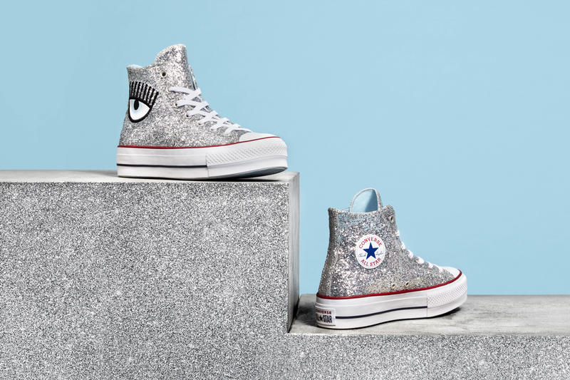 b11d9448ffb Chiara Ferragni x Converse Chuck Taylor All Star Lift High Glitter Silver