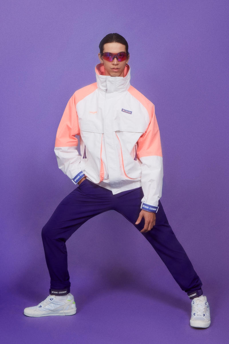 Columbia x Opening Ceremony Fall Winter 2018 Collection Jacket Orange White Pants Purple