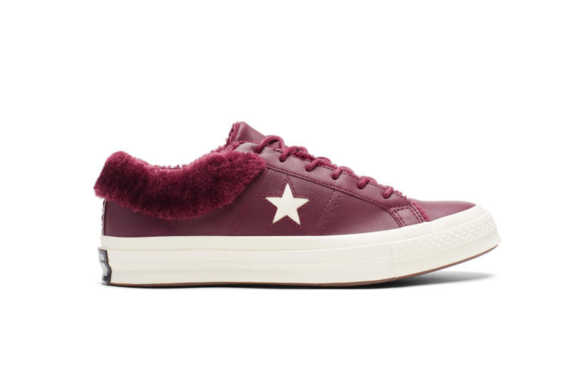 Converse One Star Fur-Lined Maroon and Black Sneaker Shoe