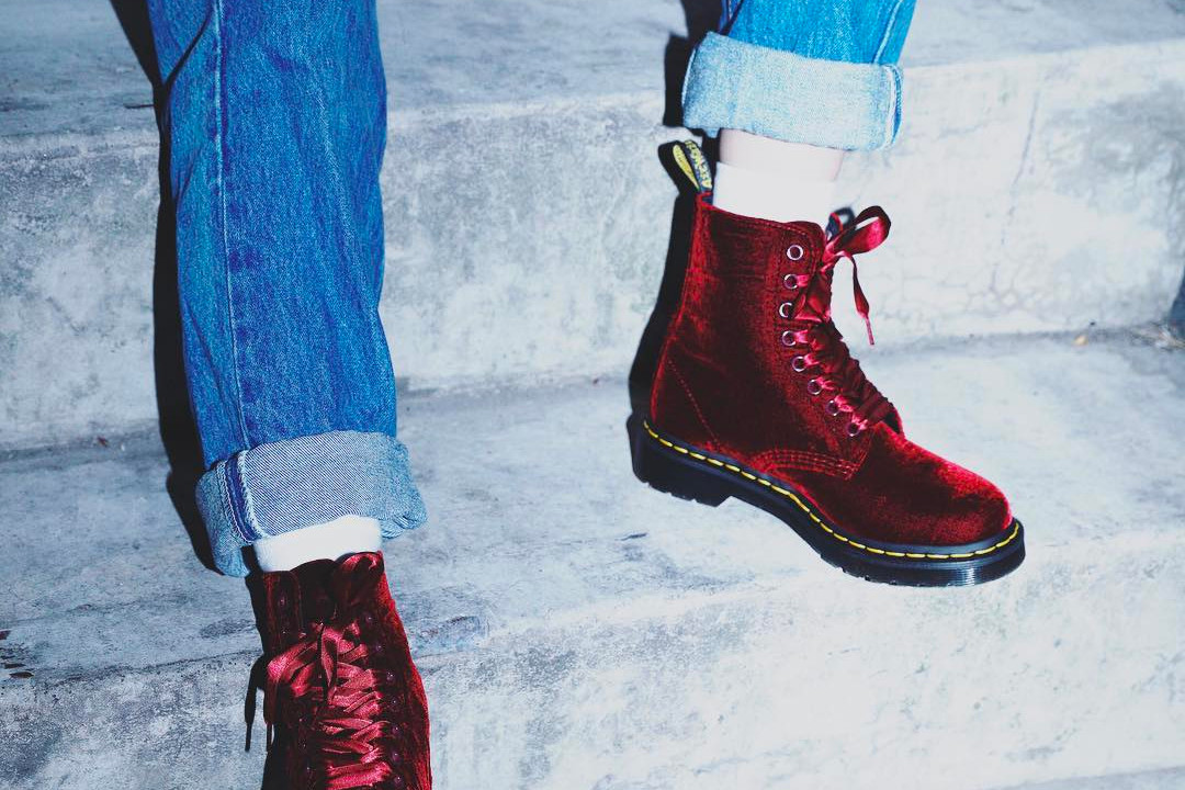 Dr. Martens Red Velvet Pascal Boots