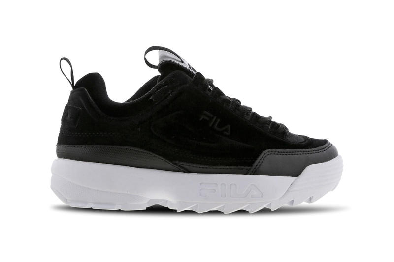 FILA Disruptor 2 Chunky Black Velour Trainers Sneakers