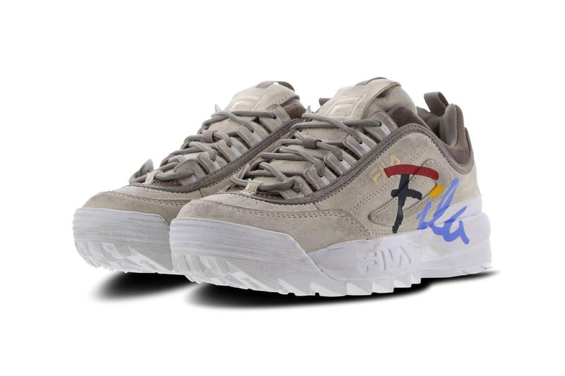 FILA Disruptor 2 Script Distressed Gardenia Atmosphere White