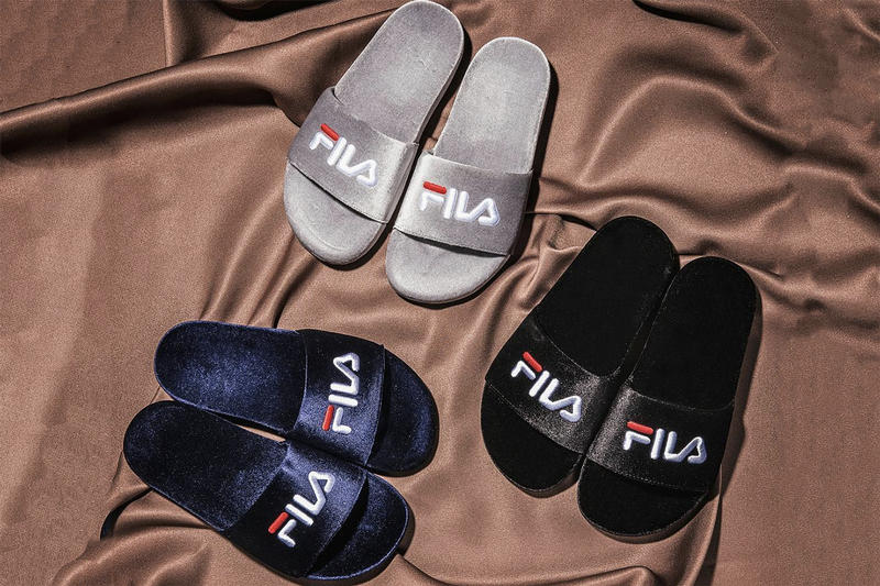 FILA Drifter Velvet Logo Sandals Slides Black Navy Grey