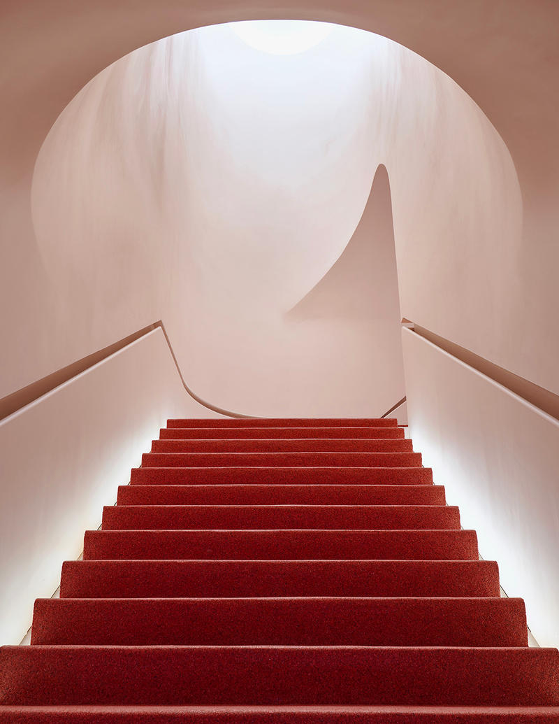 Glossier Flagship Store Shop Manhattan New York Emily Weiss 2018 November 8 123 Lafayette Street Makeup Skincare Beauty Cosmetics Pink Stairs Staircase Red