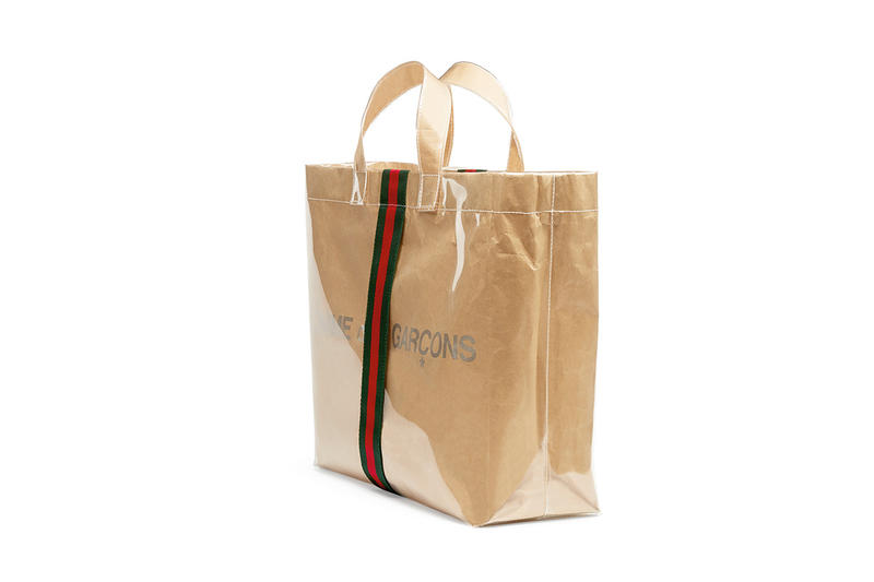 Gucci COMME des GARÇONS Plastic Paper Tote Bag Japan Tokyo Exclusive Friends 2018 November 23 Red Green Stripes Logo Happy Holidays