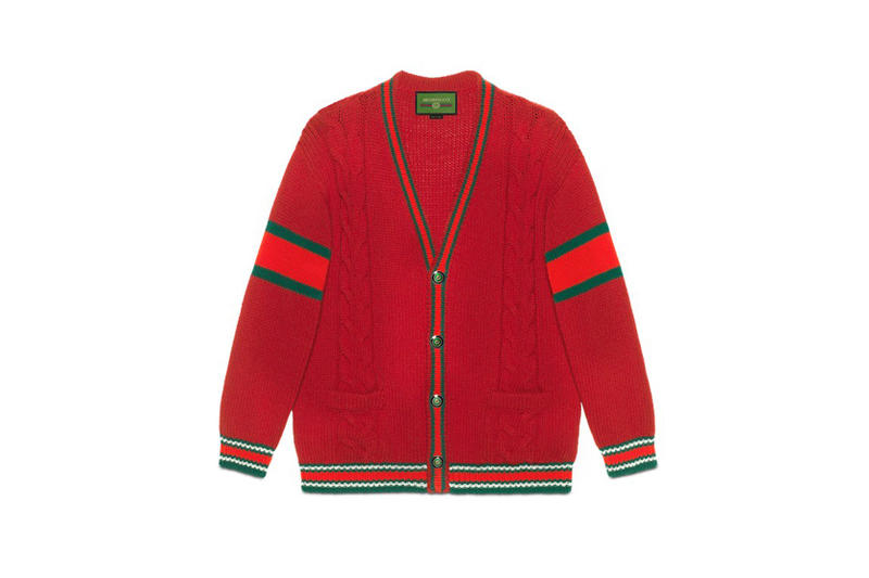Gucci DIY Knitwear Unisex Wool Cardigan Red