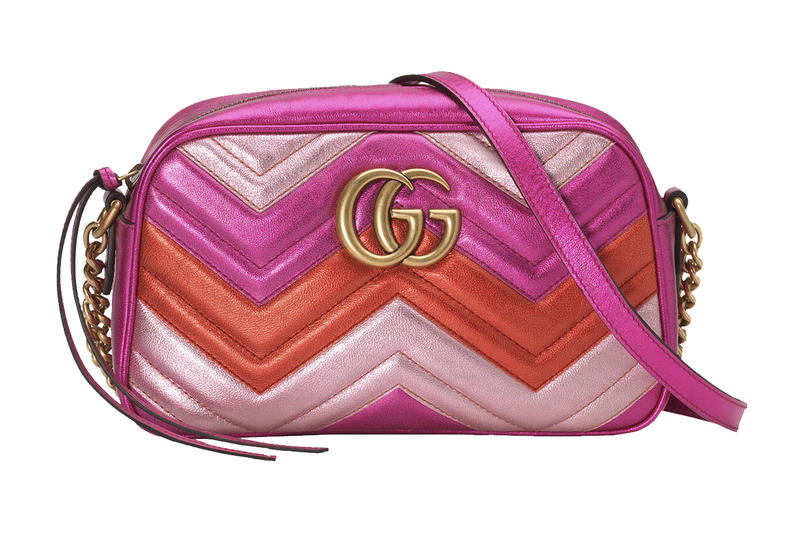 Gucci Metallic Pink Red Gradient Marmont Shoulder Bag