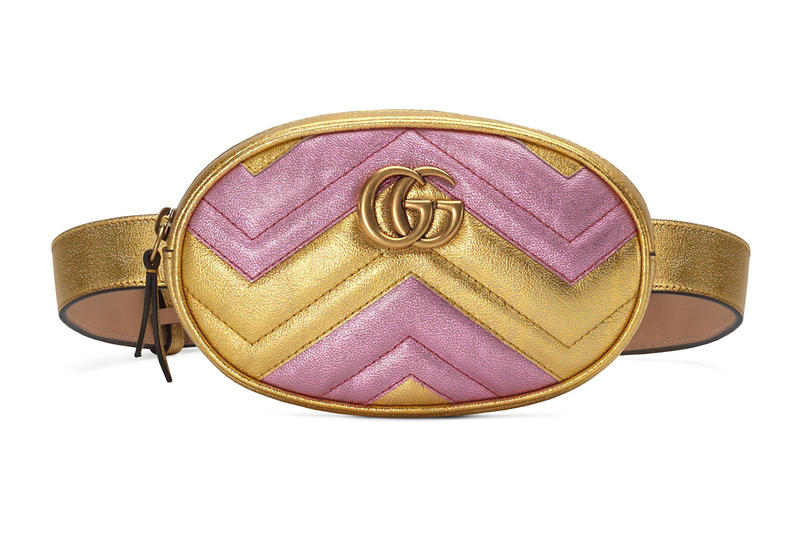 4b6c06a582b Gucci Two-Tone Metallic Pink Gold Leather Marmont Belt Bag