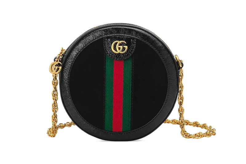 Gucci Ophidia GG Mini Round Circle Bag Black Red Green