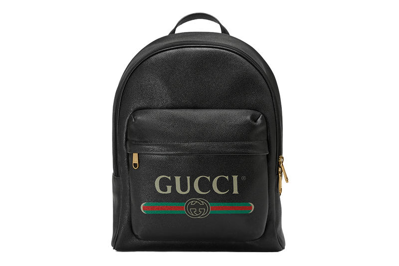 94b431eb68a Gucci Vintage Logo Backpack Leather Bag Black Printed Red Green