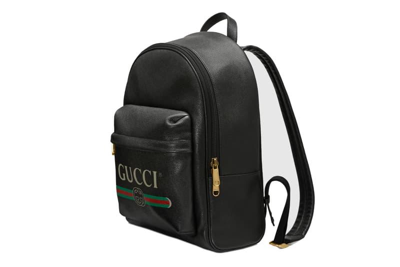 Gucci Vintage Logo Backpack Leather Bag Black Printed Red Green