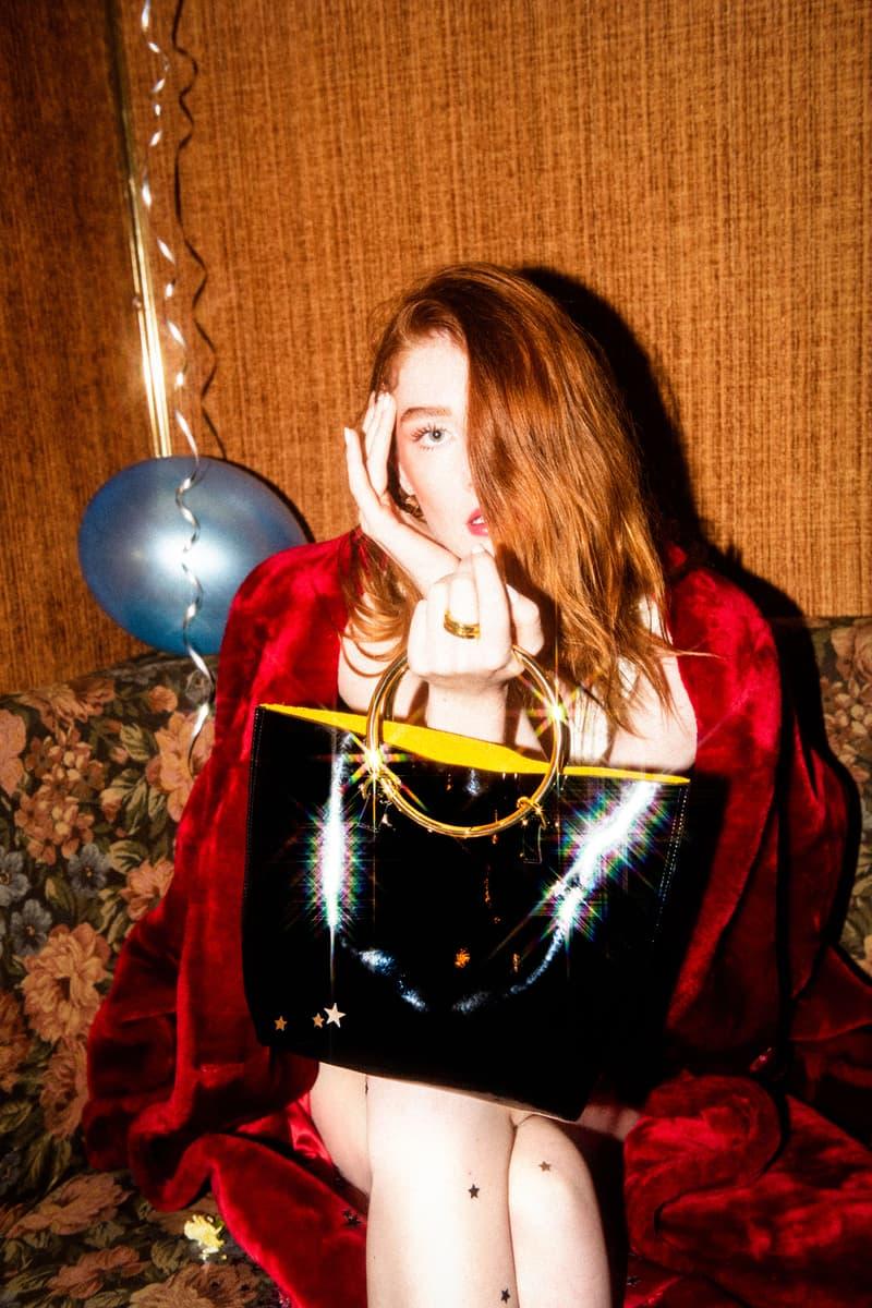 Janis Studios Darka Patent Bag Gold Hoop Handle Large Black