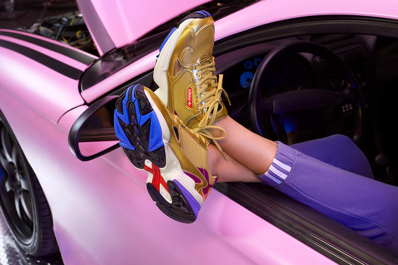Kylie Jenner adidas Originals adidasCOEEZE Apparel Falcon Gold White Blue Red Sneakers Trainers Campaign