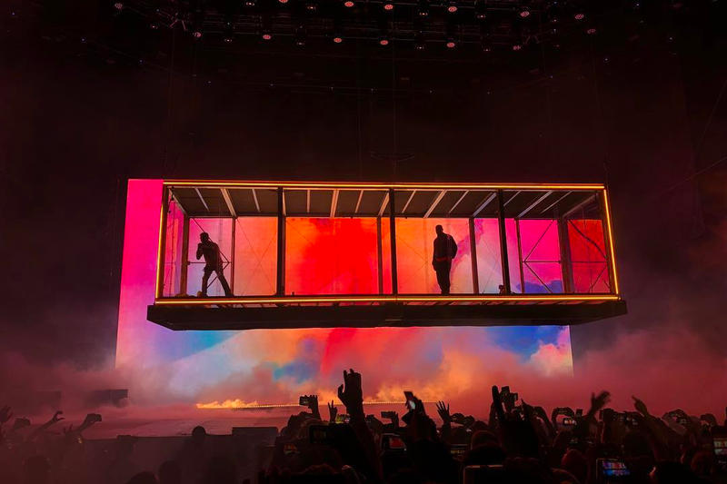 Kanye West Kid Cudi Camp Flog Gnaw Kids See Ghosts Stage Design Glass Box Suspending Rainbow Colors Lorde Tyler the Creator Concert 2018 November