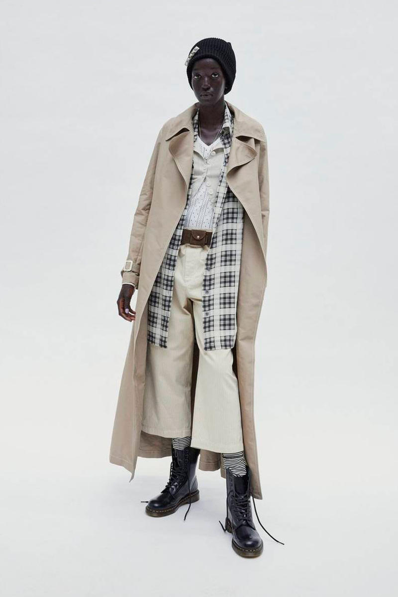 Marc Jacobs Resort 2019 Redux Collection Trench Coat Crop Pant Tan Button Down White Dr. Martens 10-Eye Letter Boot Black