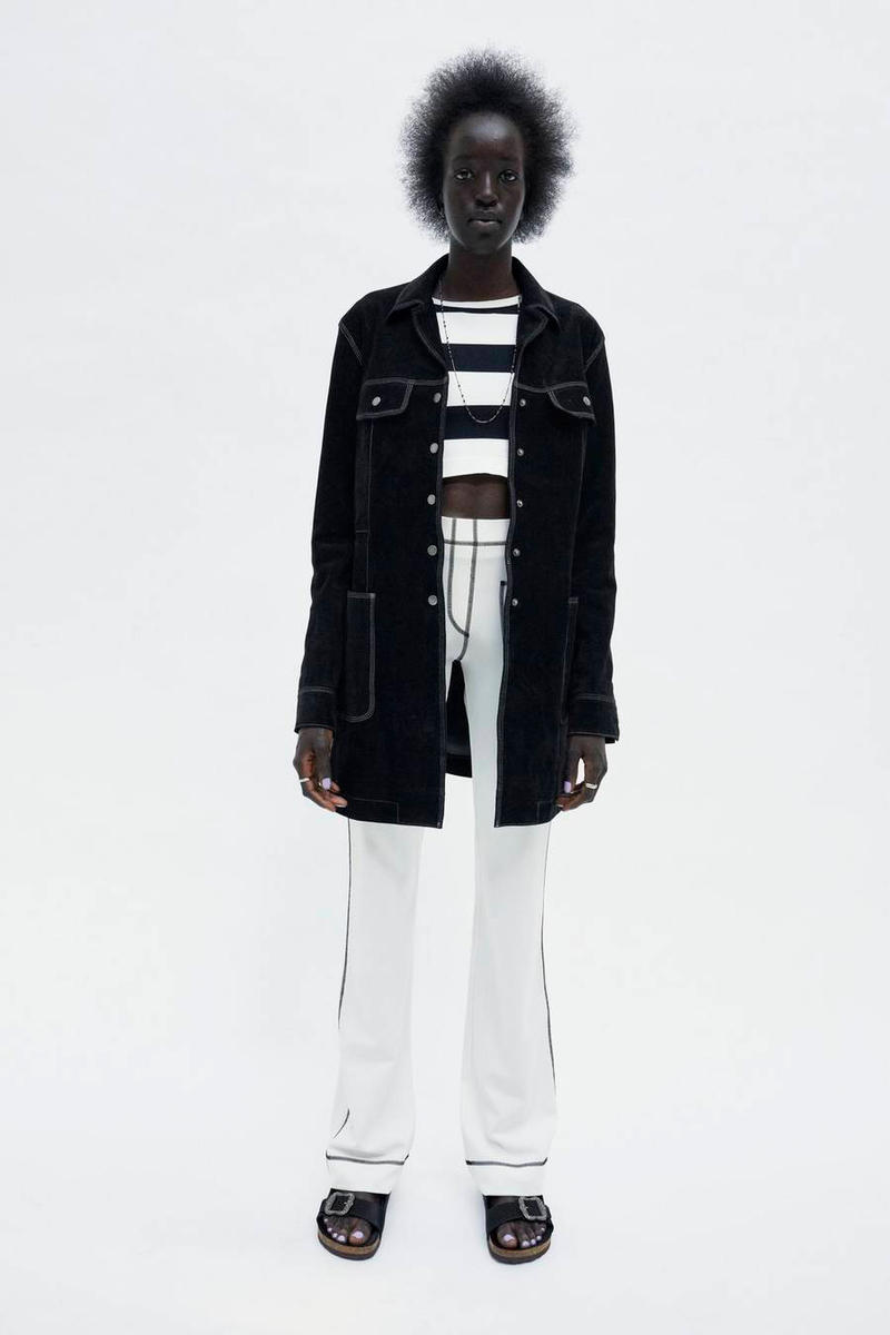 Marc Jacobs Resort 2019 Redux Collection Suede Overcoat Black Wide Striped Long-Sleeve Crop Top Patch Pocket Cotton Jersey Pant White