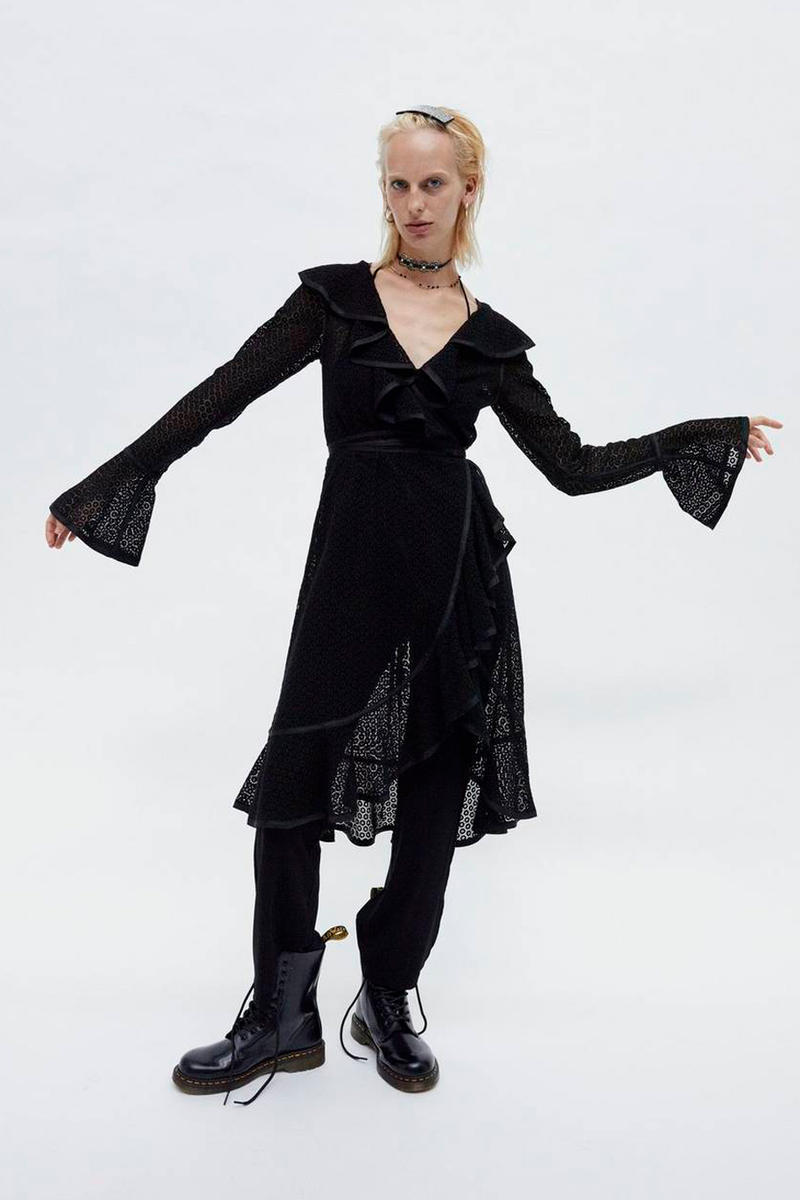 Marc Jacobs Resort 2019 Redux Collection Eyelet Ruffle Dress With Jumpsuit Dr. Martens 10-Eye Leather Boot Black